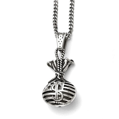 Stainless Steel Cash Money Bag 22in Necklace - Cailin's