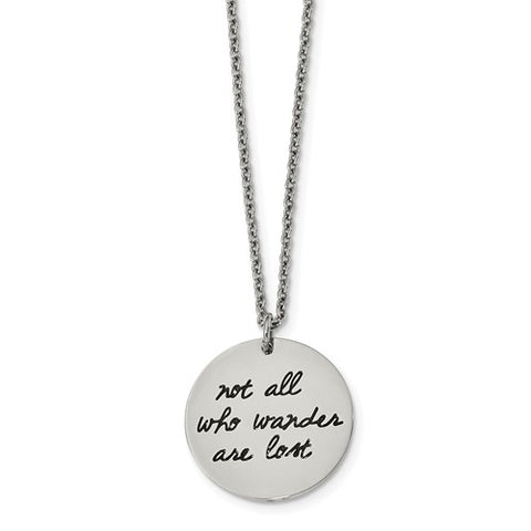 "Stainless Steel ""Not All Those Who Wander Are Lost"" Compass Necklace - Cailin's"