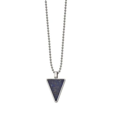 Stainless Steel Authentic Lapis Triangle Necklace - Cailin's