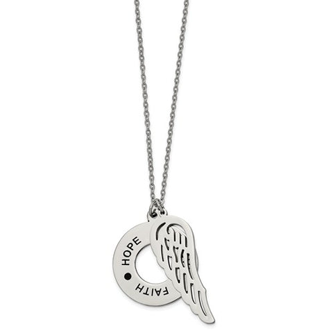Stainless Steel Inspirational Faith Hope Believe Wing Necklace - Cailin's