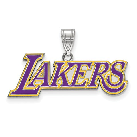 925 Sterling Silver LA Lakers NBA Basketball Team Logo Necklace Charm - Cailin's