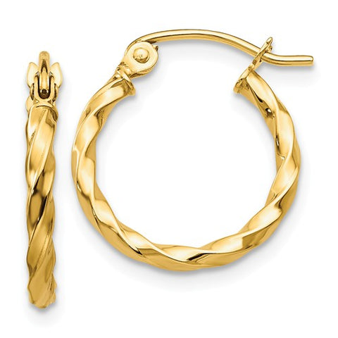 14K Yellow Gold Twirling Hoop Earrings - Cailin's