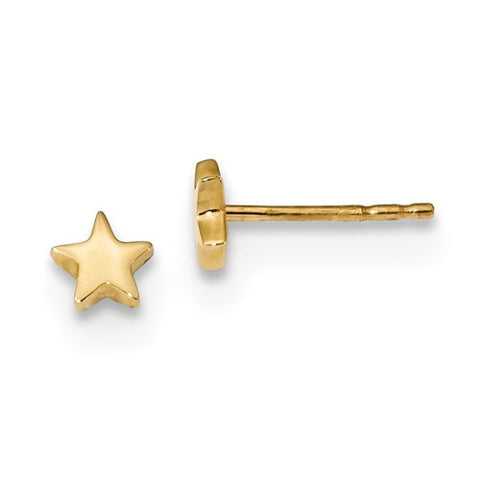 14K Gold Shiny Gold Star Post Earrings - Cailin's