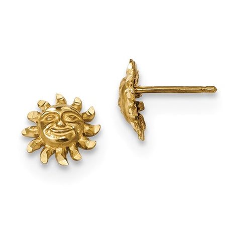 14K Yellow Gold Smiling Sun Post Earrings - Cailin's