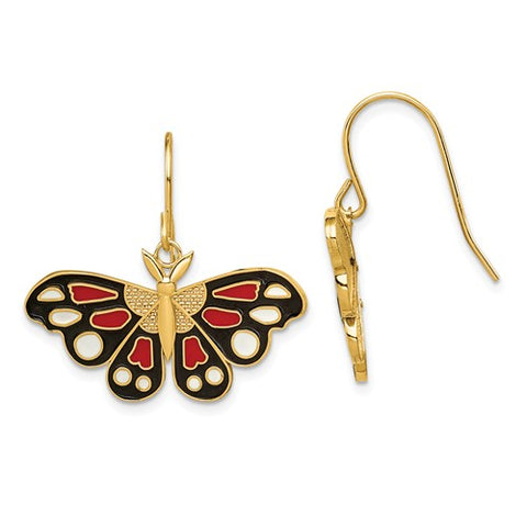 14K Yellow Gold Brilliant Butterfly French Wire Earrings - Cailin's