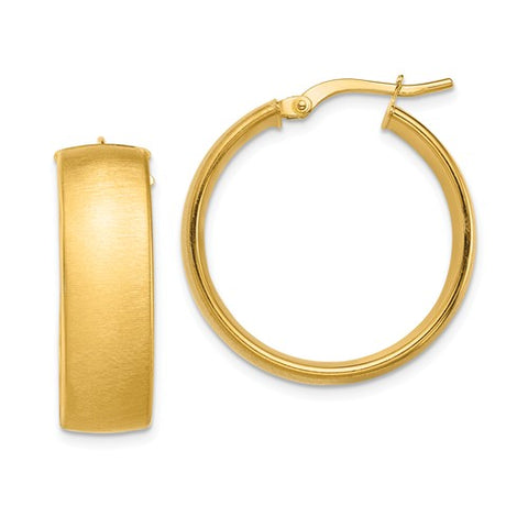 14K Yellow Gold Satin Hoop Earrings - Cailin's