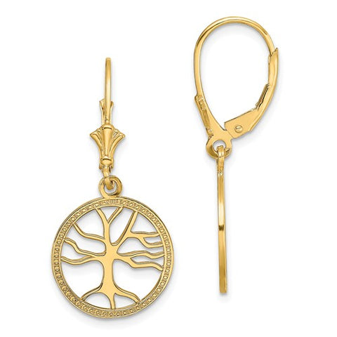14K Yellow Gold The Tree of Life Hoop Earrings - Cailin's