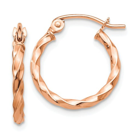 14K Rose Gold Terrific Twist Hoops - Cailin's