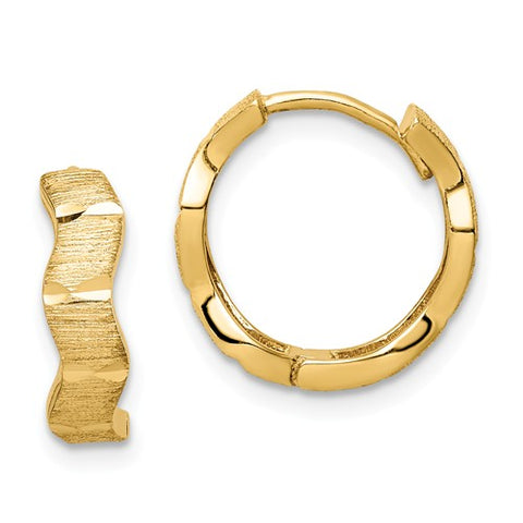 14K Yellow Gold Wave Hoop Earrings - Cailin's