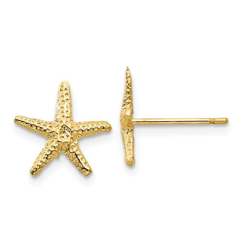 14K Yellow Gold Starfish Story Post Earrings - Cailin's