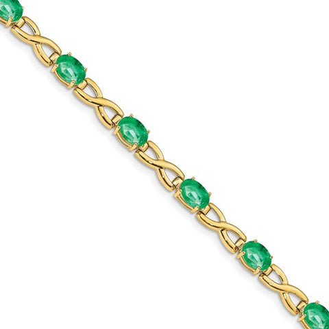 14K Yellow Gold Green Emerald Irish Infinity Bracelet