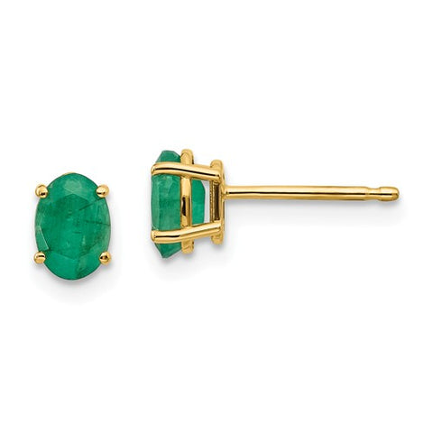 14K Gold Genuine Green Emerald Oval Post Earrings - Cailin's