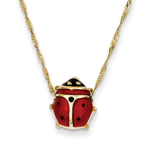 14K Yellow Gold Lovely Ladybug Beetle Necklace - Cailin's