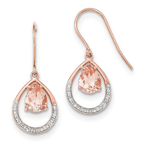 14K Rose Gold Morganite Diamond French Wire Earrings - Cailin's