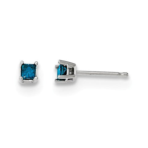 14K White Gold Blue diamond Post Earrings - Cailin's