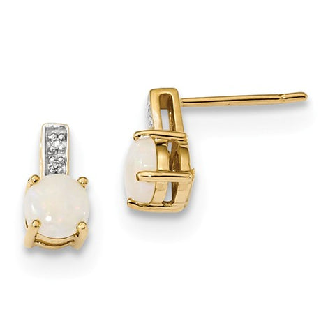 14K Yellow Gold Elegant Opal diamond Post Earrings - Cailin's