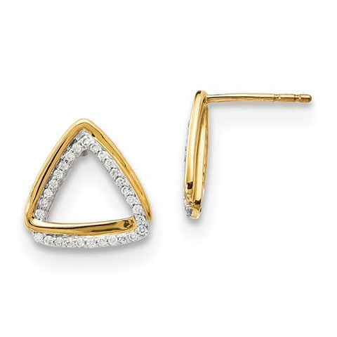 14k Yellow Gold Tantalizing Triangle diamond Earrings - Cailin's