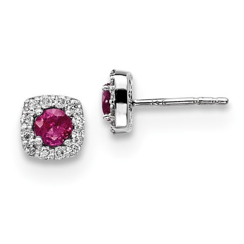 14k White Gold Genuine diamond & Ruby Button Post Earrings - Cailin's