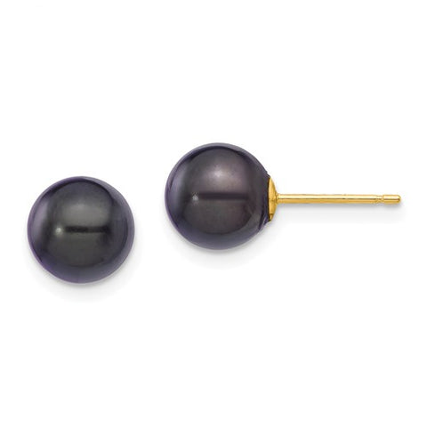 14K Yellow Gold Black Akoya Saltwater Pearl Post Earrings - Cailin's