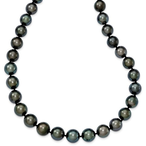 14K White Gold Saltwater Tahitian Black Pearl Necklace - Cailin's