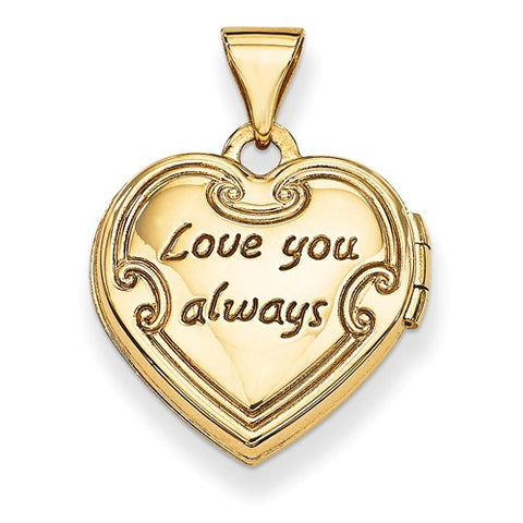 14K Yellow Gold Love You Always Reversible Heart Locket Charm - Cailin's