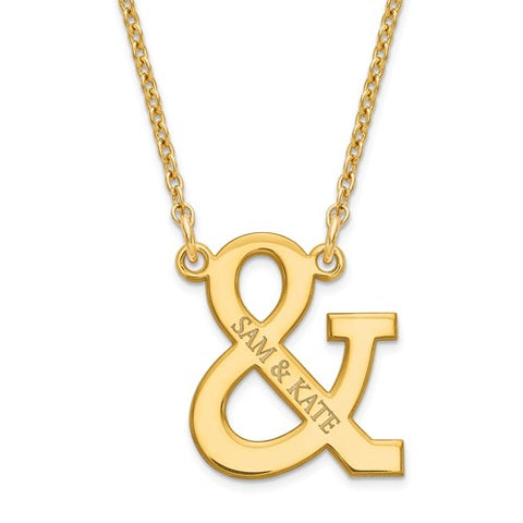925 Sterling Silver GP Ampersand Custom Couple Name Necklace - Cailin's