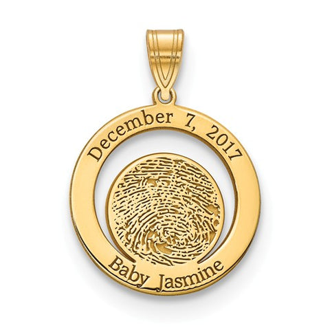 Push Present Baby Fingerprint with Birthdate Necklace Charm - Cailin's