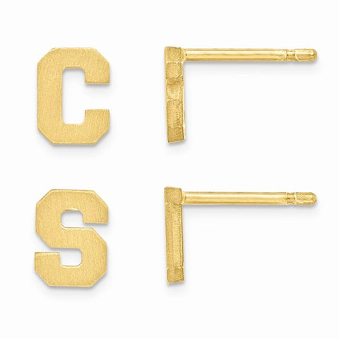 14K Yellow Gold Two Initials Letter Earrings - Cailin's