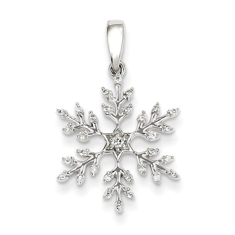 14K White Gold diamond Snowflake Necklace Charm - Cailin's
