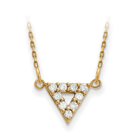 14K Yellow Gold White Diamond Open Triangle Cable Necklace - Cailin's
