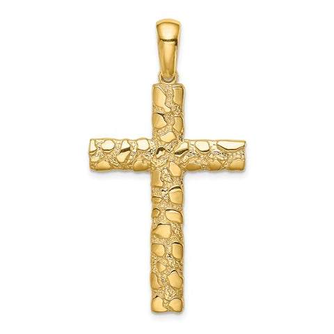 14K Yellow Gold Nugget Cross Necklace Charm - Cailin's