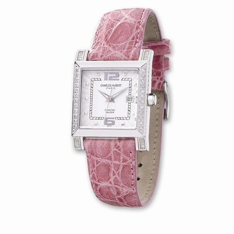 Charles Hubert Pink Leather diamond Watch - Cailin's