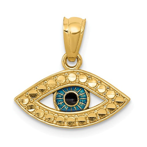14K Yellow Gold Lucky Blue Eye Necklace Charm - Cailin's