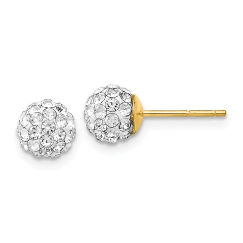 14K Yellow Gold Crystal Ball Evening Post Earrings - Cailin's
