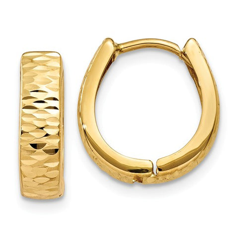 14K Yellow Gold Texture diamond Cut Oval Hoop Earrings - Cailin's