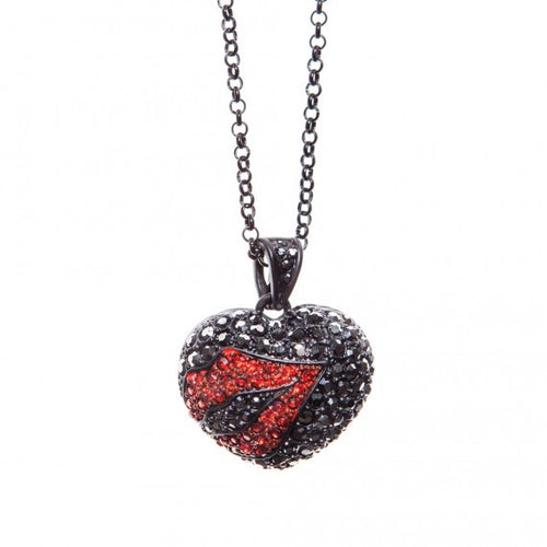 Black Heart Kiss Lips Necklace