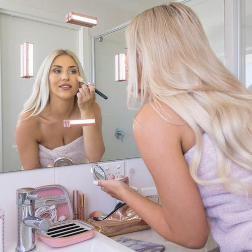 Portable LED Makeup Mirror Lights Travel Lamp Powerful Suction Easy Install
