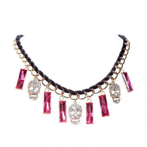 Skull Velvet Necklace | Pink