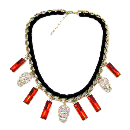 Skull Velvet Necklace | Red