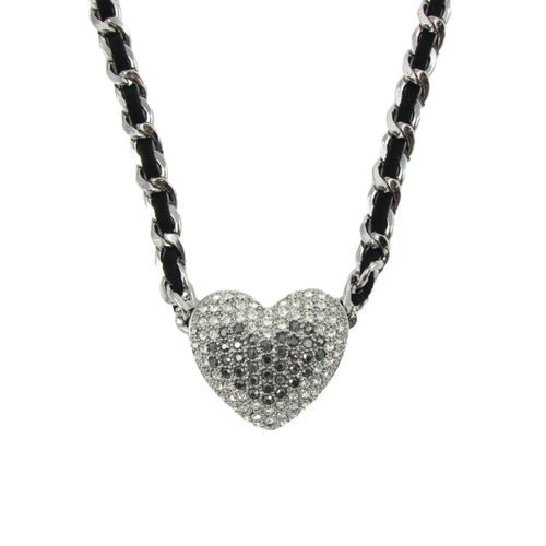 Silver Heart Woven Chain Necklace