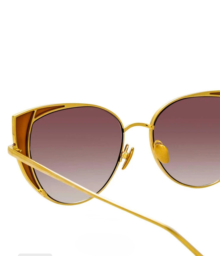 Des Voeux Sunglasses in Yellow Gold and Brown