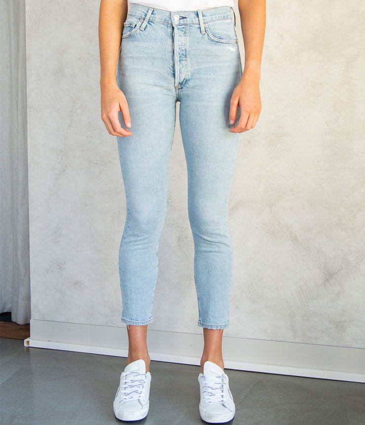 Olivia Cropped Highrise Slim Jeans in Renew