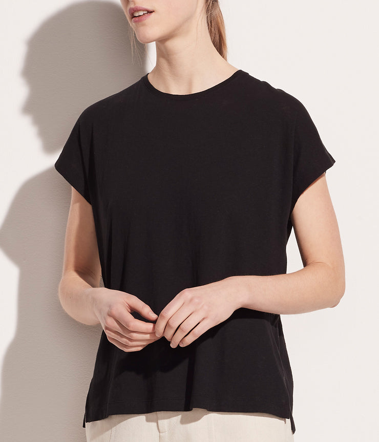Short Sleeve Relaxed Dolman in Black