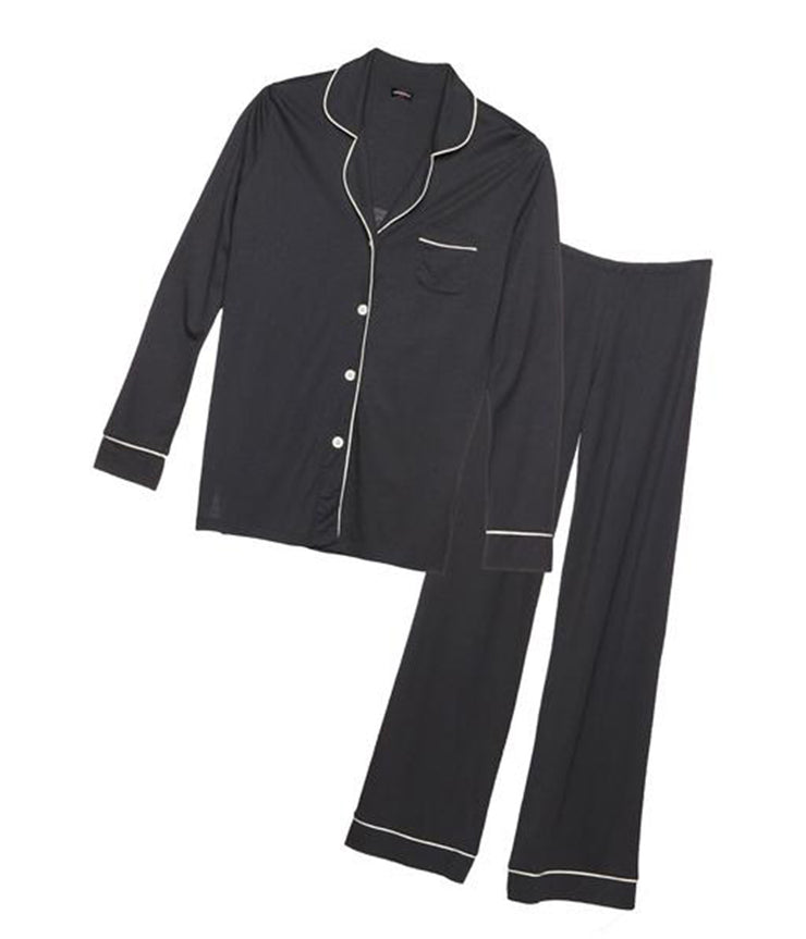 Bella Long Sleeve Pyjama Set in Anthracite and Ivory