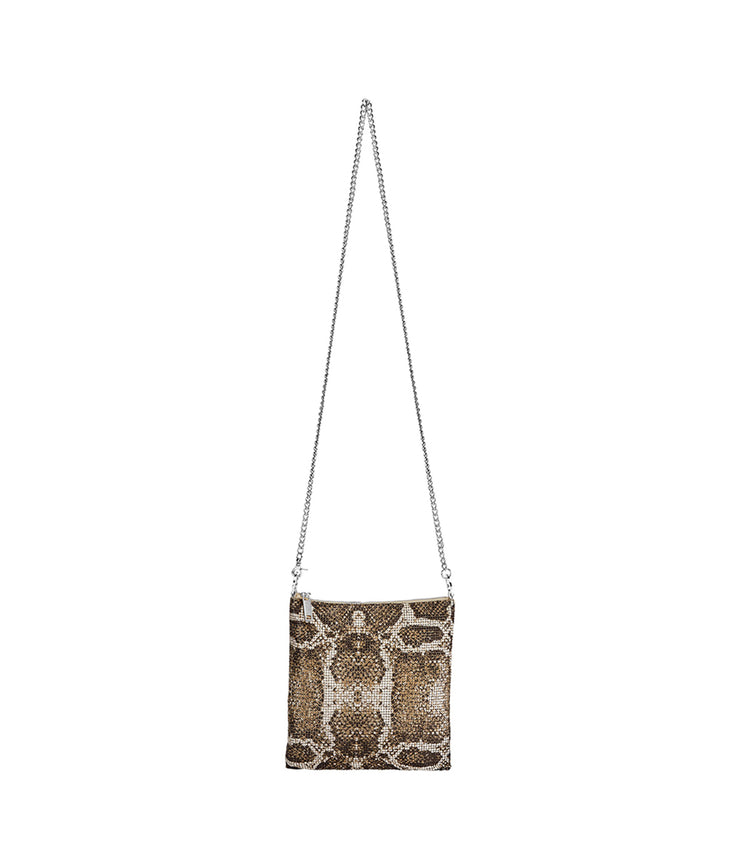 Python Convertible Crossbody in Brown Gold