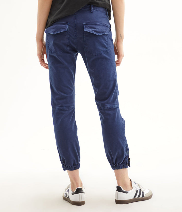 Cropped Military Pants in Vintage Blue