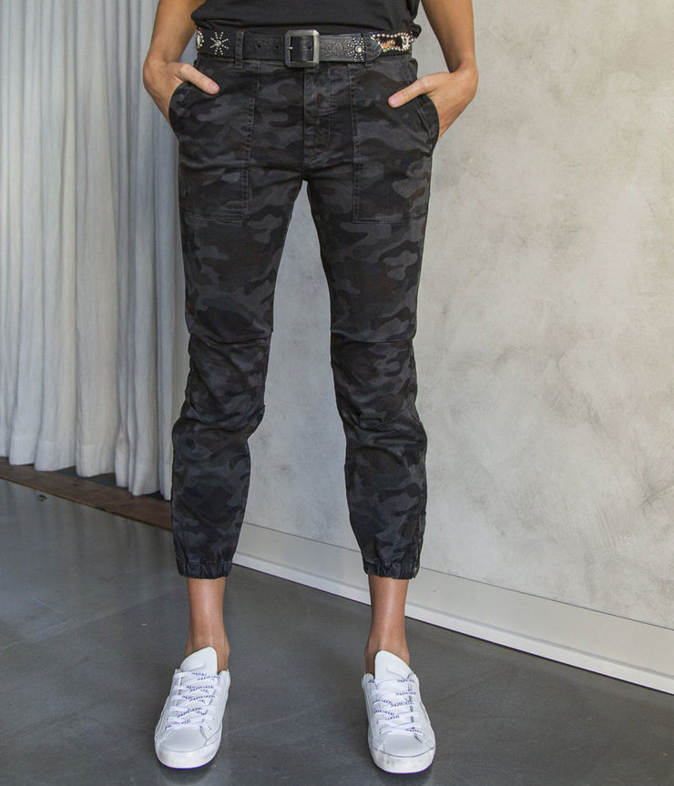 Cropped Military Pants in Charcoal Camo