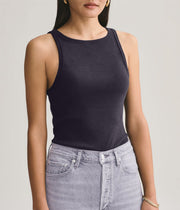 Rib High Neck Tank in Black