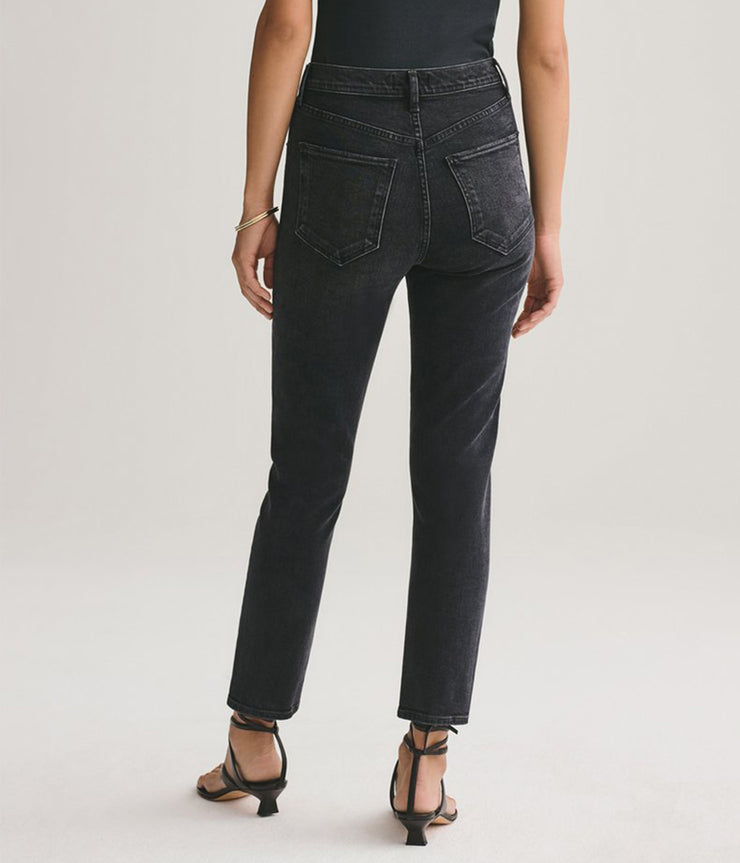 Riley High Rise Straight in Black Pepper