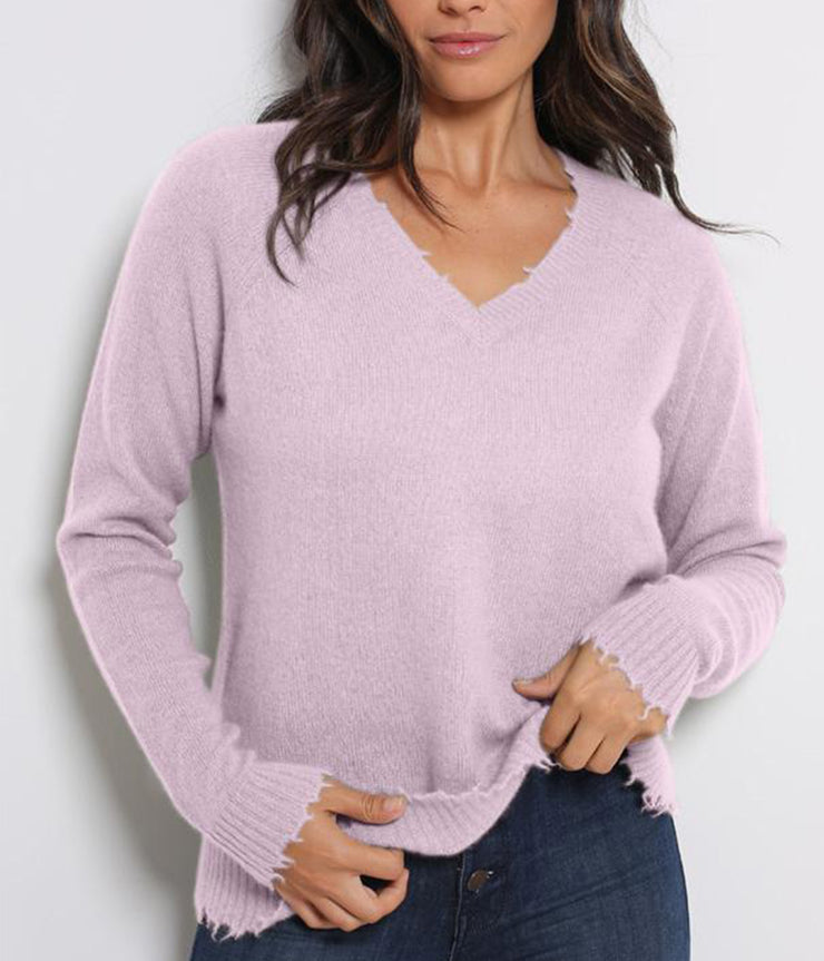 Distressed Long Sleeve V Neck Knit in Peony
